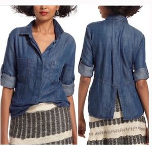 Anthro | Cloth & Stone Split Back Chambray Shirt